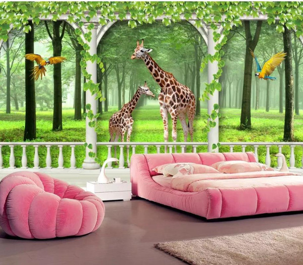 Custom any size photo mural 3d wallpaper 3d wall papers for tv backdrop Giraffe 3D TV background wall