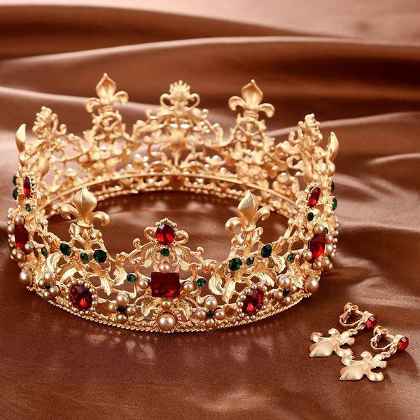 Baroque Retro Luxury Pearl Crystal Gold Crown Bridal Wedding Jewelry Rhinestone Tiaras Crowns Pageant Dress Hair Accessories T190620