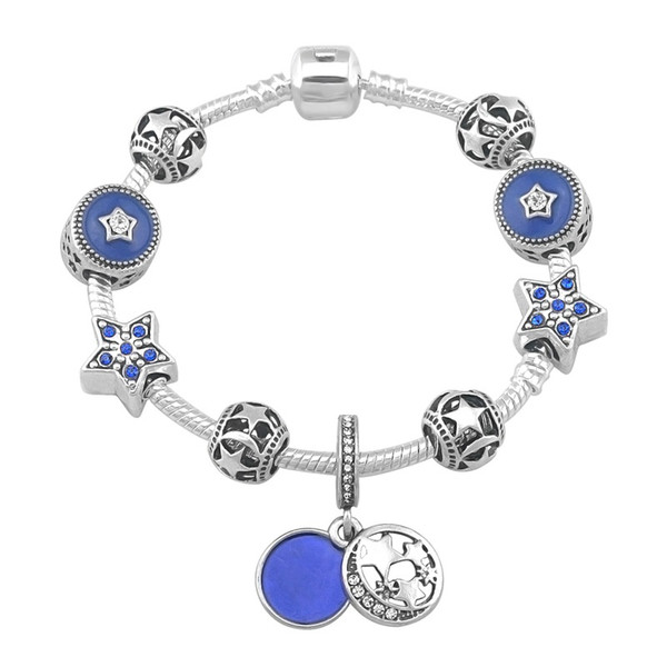 2019 New Design Moon Stars Charm Pandora Bracelets For Women Fashion Bracelet Diy Jewelry With Gift Bag 18 19 20 21CM