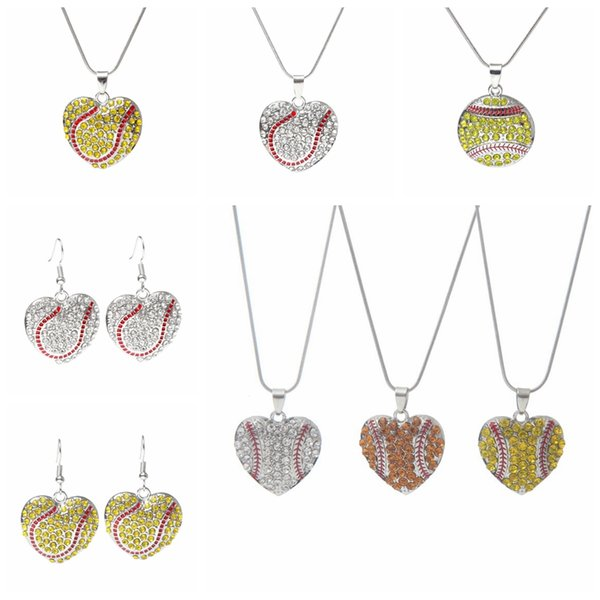 Fashion Charm Baseball Necklace Creative Softball Pendant Necklace Love Heart Sweater Jewelry Accessories Party Favor Gifts TTA956