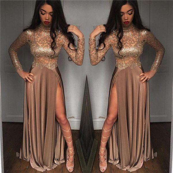 2019 Africano Lindo Sexy frisado Champagne Lantejoulas Vestidos de Noite Mangas Compridas Prom Vestidos Vestidos Ocasião Especial Vestidos de Desgaste da Noite