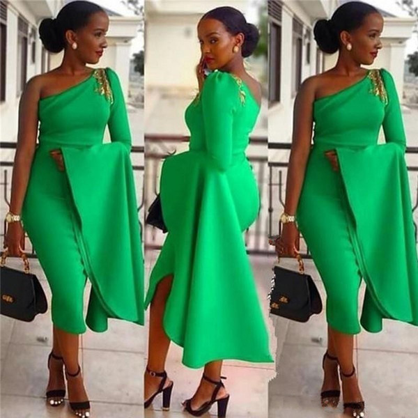 Spring Cocktail Dresses 2020.Spring 2020 High Quality Cocktail Dresses Sexy Asymmetrical Neckline One Shoulder Puffy Long Sleeve Fitted Green Evening Dresses Party Black Plus Size
