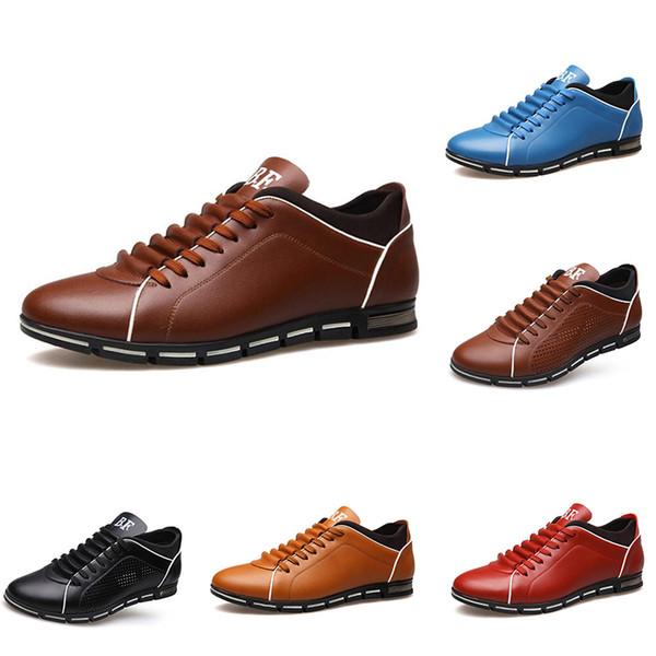 2020 Мода мужская повседневная кожаная обувь тройной черный коричневый синий красный свет загар на открытом воздухе мужские Bussiness ходьбы обувь main13