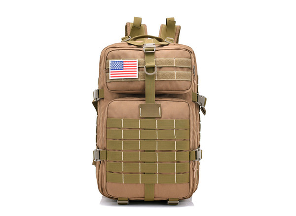 FK9252 40L 900D Military Outdoor Tactical Backpack with Hook-and-loop Fastener Wolf Brown
