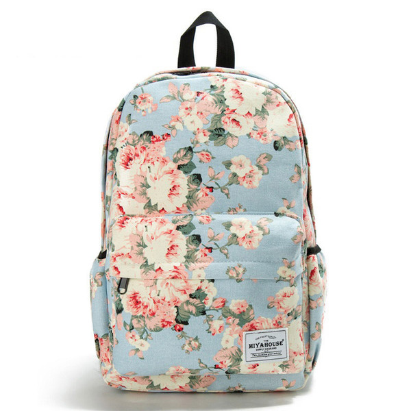 good quality Classic Floral Printed Travel Backpack For Women Canvas School Backpack For Teenager Large Capacity Backpack Female