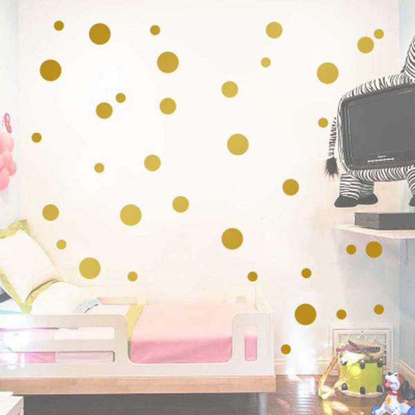 Gold Tupfen Kinderzimmer Baby Zimmer Wandaufkleber Kinder Wohnkultur Kindergarten Wandtattoos Aufkleber Für Kinder Tapete