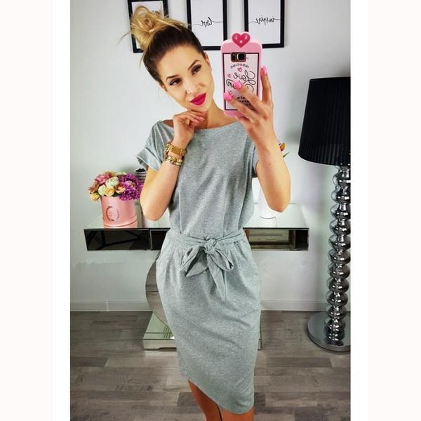 ANDYOU-Women Donne Sotto il ginocchio di base estate morbida Chic Vestito aderente