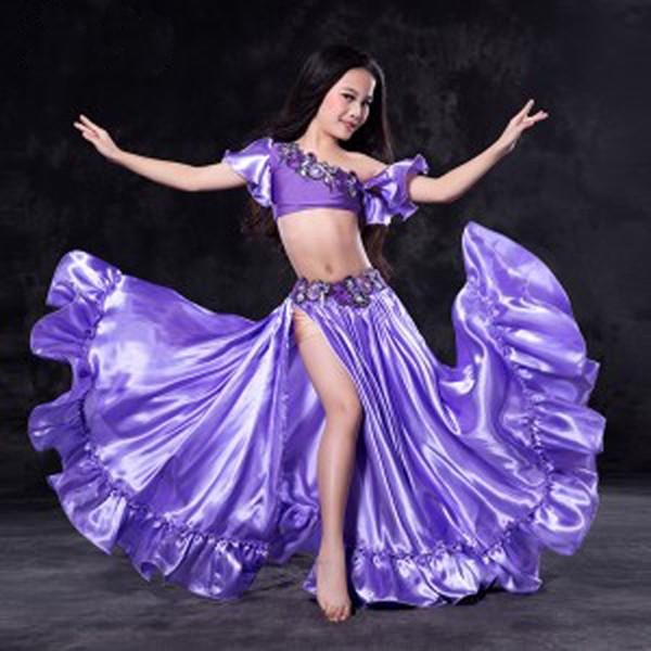 Nuovo design Nizza Costumi orientali di danza del ventre Abiti per bambini / bambini / ragazze Set di danza del ventre sexy Abiti Abiti S / M / L 5 colori