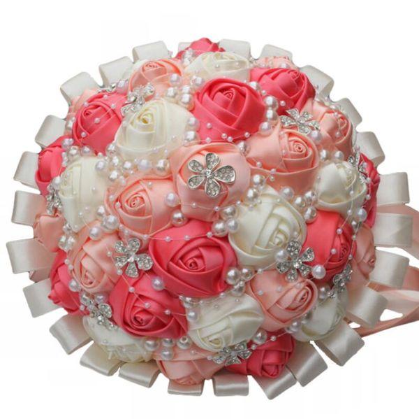 New Elegant Wedding Flowers Ribbon Wedding Bride Wedding Flower Five Petals Pearls Handmade Flowers Watermelon Red Rhinestone Jewelry Wholes
