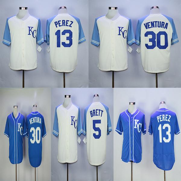 brand new 2e046 13695 2019 Men'S Kansas City 13 Salvador Perez Jerseys 5 George Brett 30 Yordano  Ventura Top Quality Baseball Jersey From Basketballjersey_1, $18.86   ...