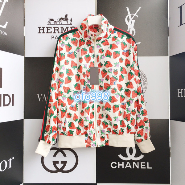 De gama alta mujeres niñas chaquetas tops tops impresión de fresa capa cuello derecho cremallera prendas de abrigo protección solar chaquetas al aire libre