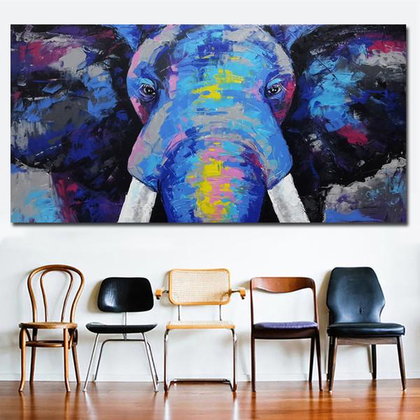 Satin Al 1 Parca Soyut Sanat Mavi Fil Kafasi Tuval Resimleri Duvar