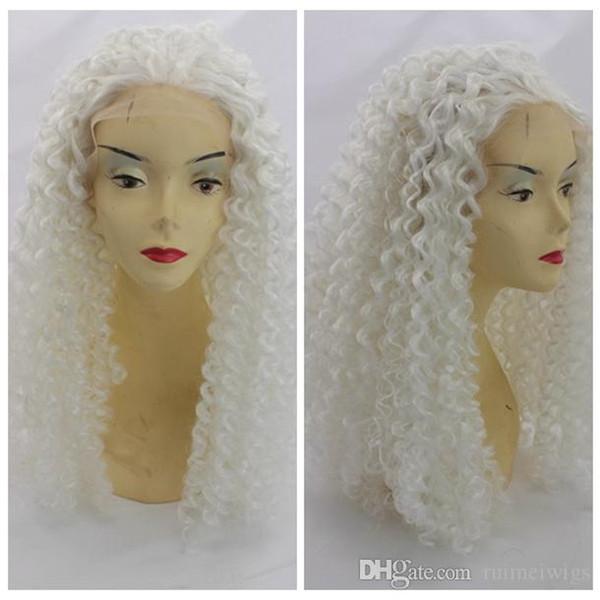 Cosplay perruque blanche Afro Kinky Curly Lace Front perruques synthétiques Cheap Cheap résistant à la chaleur de haute qualité perruque Kinky Curly Snow White Anime Couleur