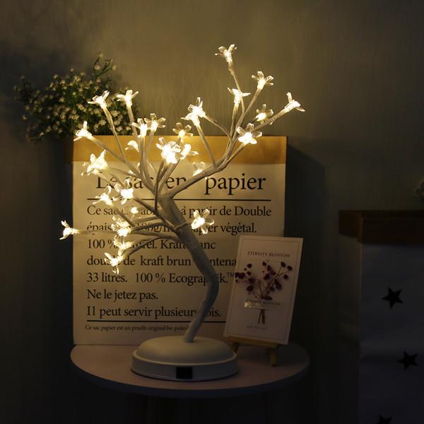 مفتاح التحكم شجرة مشرق الصمام مصباح المصابيح ساكورا / لمبة / أضواء شجرة زهرة أضواء بيضاء دافئة للمنزل ديكور عطلة عيد الميلاد