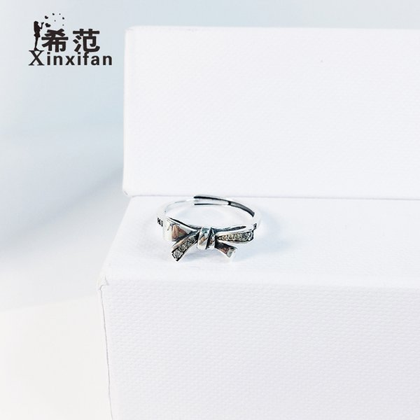 Female Sterling Silver bowknot ring concise, beautiful, vintage, old-fashioned diamond-inlaid index finger ring are on sale