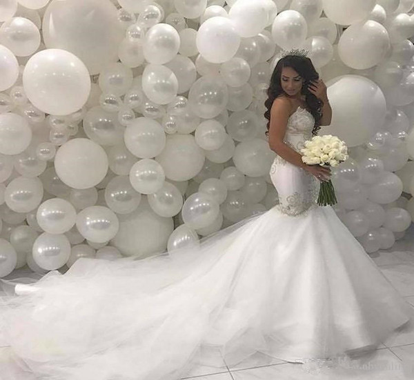 Arabic Middle East Mermaid Wedding Dresses 2019 Sweetheart Beading Lace Court Train Ivory Vintage Bridal Gowns HS3
