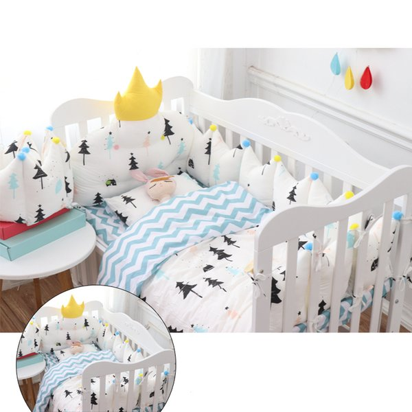 Nordic Style Baby Bedding Set Crown Design Baby Bed Set Cot Include Thicken Protect Bumpers Bed Sheet Quilt Pillow with Filling