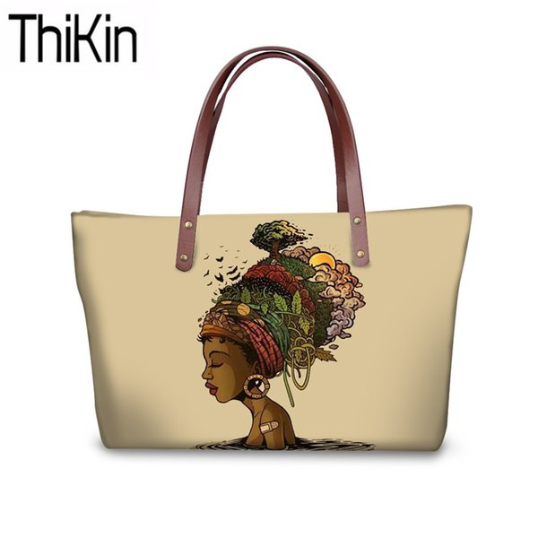 THIKIN Travel Top-Handle Bags for Women Large Capacity Shoulder Bag Black Art African Girls Printing Hand Tote Bags Feminine