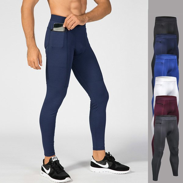 Men Outdoor Sport Gym Bodybuilding Fitness Leggings Joggers Quick Dry Skinny Compression Pant with Zipper High Elastic Sportwear