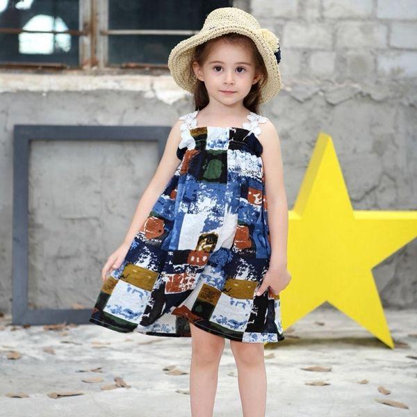 Baby Mädchen Baumwolle Kleider 2019 Neue Marke Niedlichen Sommer Kleinkind Kinder Baby Mädchen Kleidung Sleeveless Bunte Trägerlose Sommerkleid