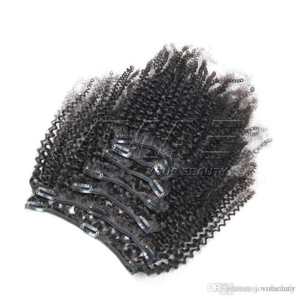 Agrafe bouclée africaine crépue dans des prolongements de cheveux humains 7 pcs / ensemble 4B 4C agrafes dans des prolongements de cheveux 100g 120g 160g VMAE cheveux