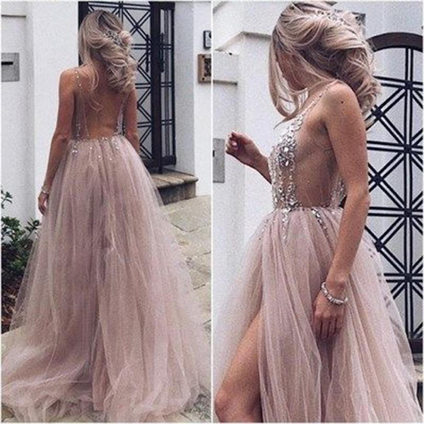 Sexy See Through Prom Dresses A Line Deep V Neck Heavily Beads Backless Side Split Tulle Evening Dresses Prom Gown DP0116