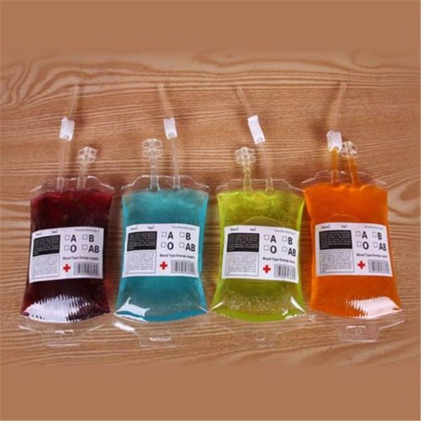 New Fashion Best Price Clear Food Grade PVC Material Reusable Blood Energy Drink Bag Halloween Pouch Props Vampire