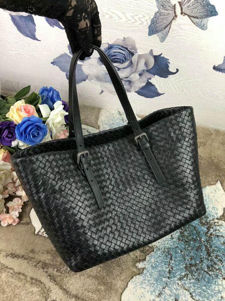 women handmade material crochet handbag classic genuine sheep skin leather handbag casual tote big size simple kintting bag vb 33cm new
