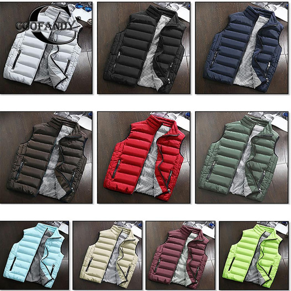 Autumn Winter Thick Vest Men Sleeveless Outfit Stand Waistcoat Autumn, Casual Zipper Pocket Solid Casual