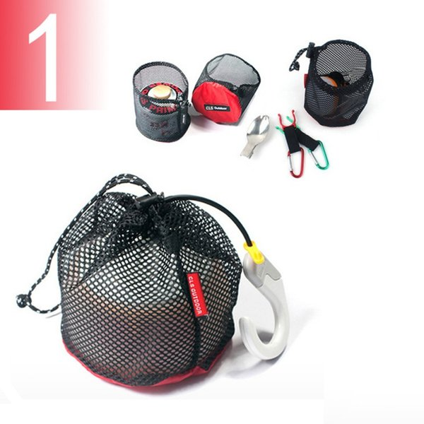 5pcs/set Mesh Picnic Bag Travel Drawstring Storage Bag Mesh Gadgets Organizer Outdoor Camping Accessories New