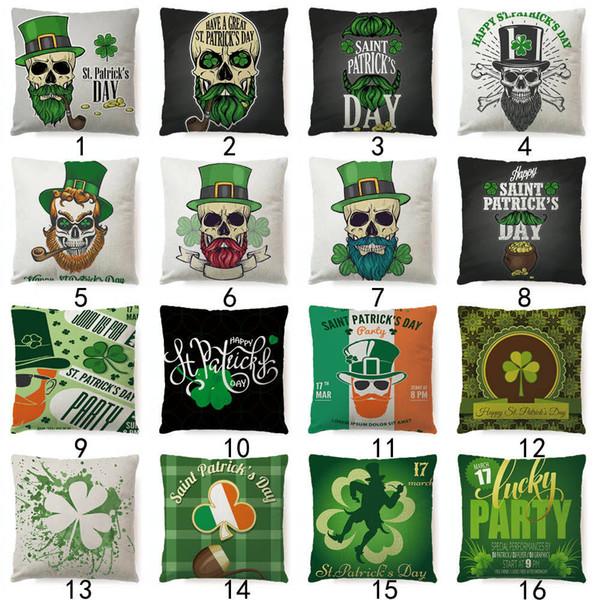 St.Patrick's Day Kissenbezug 45x45cm St. Patrick's Day Irish Shamrock Kissenbezug Sackleinen Kissenbezug Kissenbezug MMA1482