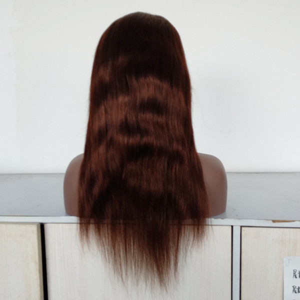 pleine perruque de lacet en soie cheveux raides densité moyenne 10-24 pouce en stock perruque avant de lacet de cheveux de couleur brun moyen à vendre