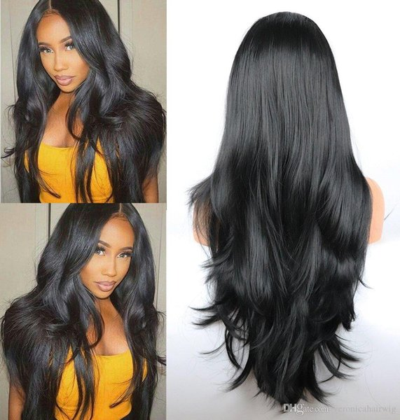 Синтетические парики фронта шнурка Черный Длинные естественная волна волос бесклеевой Замена парики для женщин Природные Hairline Термостойкое волокно
