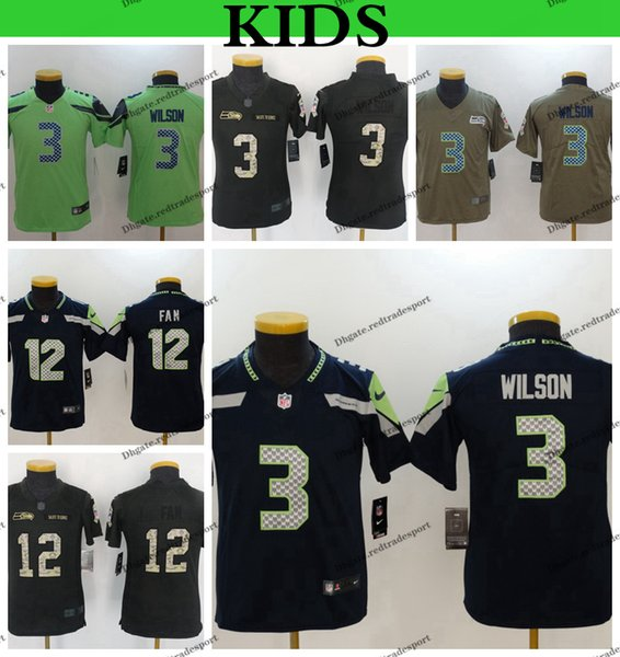 finest selection a9120 f0431 2019 Youth Seattle Kids Seahawks Russell Wilson Football Jerseys 3 Russell  Wilson 12th Fan Salute To Service Stitched Shirts From Redtradesport, ...