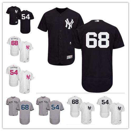 sneakers for cheap a7fd8 4b5e4 2019 Custom Men'S Women Youth New York Yankees Jersey #68 Dellin Betances  54 Aroldis Chapman Black Grey White Baseball Jerseys From Gzf608, $16.5 |  ...