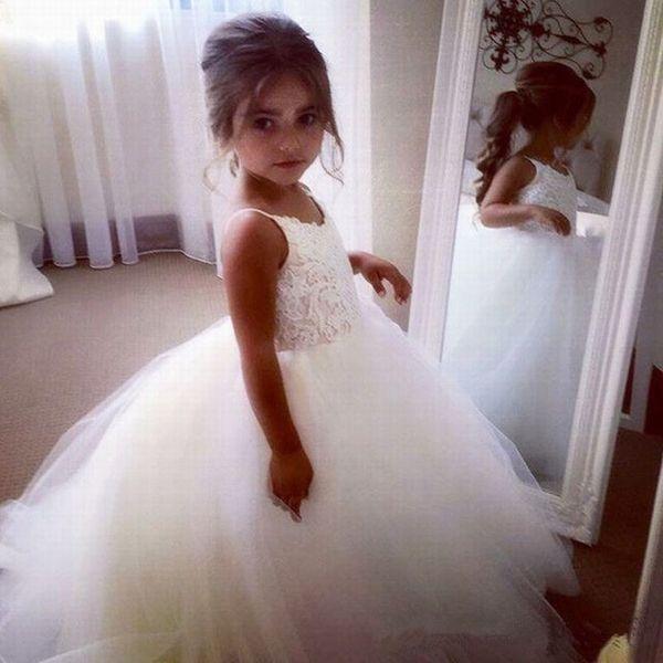 Büyüleyici LaceTulle Çiçek Kız Elbise Balo Çocuklar Pincess Pageant Düğün Gelinlik Çocuk Elbise GHYTZ56
