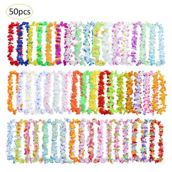 50 unids / pack Hawaiian Leis Wreath Necklace Artificial Flower For Wedding Party Decoration Supplies DIY Decoración de Regalo