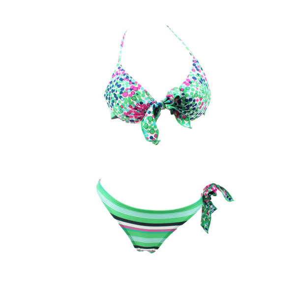 Floral Bowknot Bikini Swimwear for Small Bust Female Thickening Underwire Push Up Cup Two - Piece Swimsuit DK002
