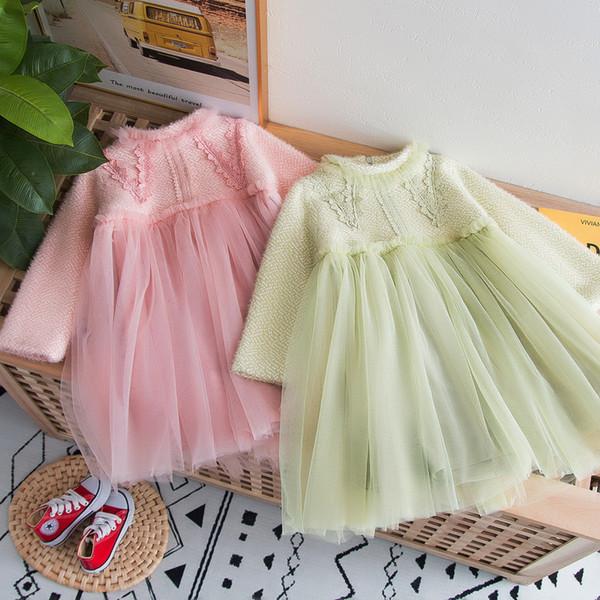 Robes dentelle robe de princesse de broderie pour les enfants en peluche manches longues en dentelle tulle robe épissage enfants de jour de valentine robe de soirée J1896
