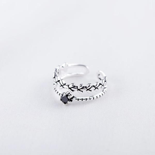 Anenjery Creative-925 Sterlingsilber-Ringe für Frauen Obsidian Blatt Double Layer Thai Silber Öffnungszeigefinger-Ring