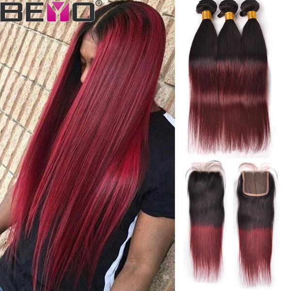 Ombre Пучки человеческих волос с закрытием 1b 99J Бордовые прямые волосы 3 пучка с закрытием Сырые девственные индийские наращивание волос Remy Beyo