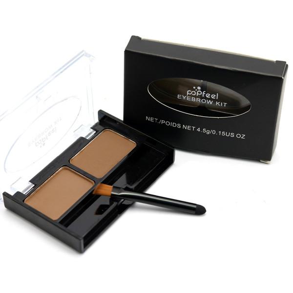 Wholesale DHL Eyebrow Powder Palette Waterproof Eye Brow Kit Long Lasting Eye Makeup Brow Shading Brush Mirror Box 2 Color Chocolate Palette