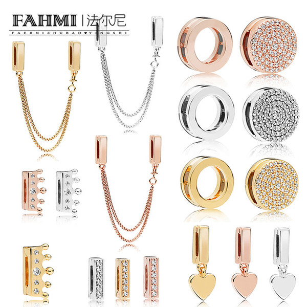 FAHMI 100% 925 plata esterlina BRILLO REFLEXIONES CLAVE ELEGANTE CLAVE Clip de corona rosa Clip de corazón flotante Charm Cadena de seguridad