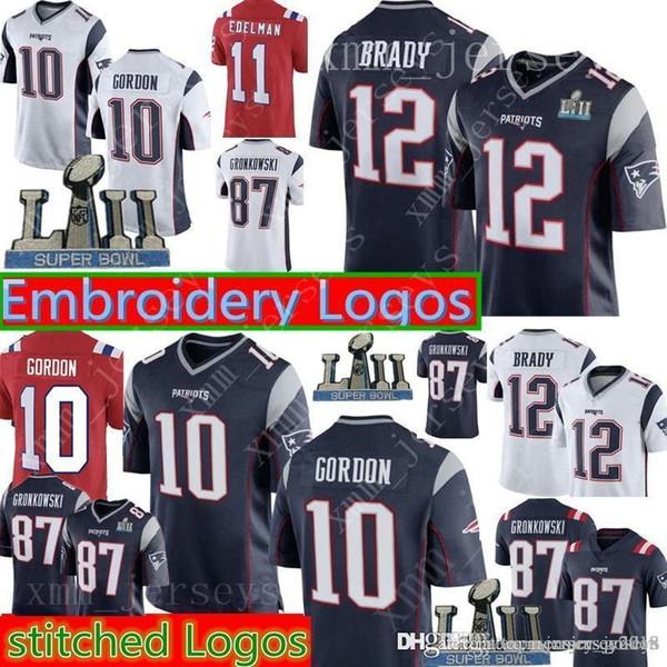 buy popular 472fb 2006a 2019 12 Tom Brady 10 Josh Gordon Patriots Jersey 87 Rob Gronkowski 11  Julian Edelman 14 Cooks 15 Hogan 92 Harrison Football Jerseys From ...