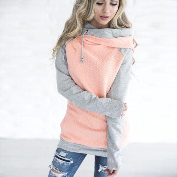 Blusas femininas no outono e inverno, bolsos com zíper, xadrez de malha tampas de manga longa, casacos de calor de personalidade das mulheres, grandes casacos