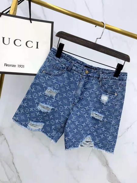Chegada nova das mulheres marca calças curtas buraco e carta padrão de impressão deisgner para o verão moda shorts do vintage lavado denim shorts s-xl