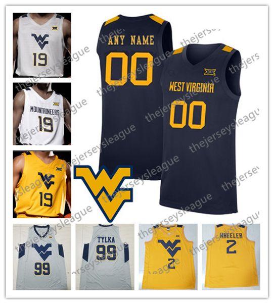 West Virginia Mountaineers 2020 encargo cualquier Nombre Número Blanco Gris Azul marino Jersey amarillo de baloncesto de la NCAA Konate # 5 McCabe 50 Sagaba