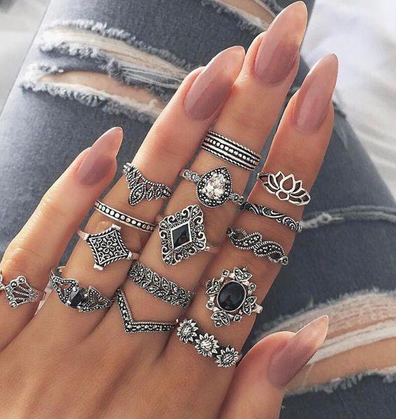 Anillo conjunto de 15 piezas de moda para mujer plata retro ola dominó diamante fiesta en la playa joyería de moda de verano popular al por mayor