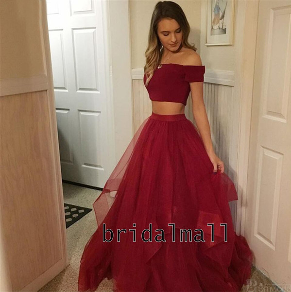 Burgundy Two Pieces Prom Dresses Short Sleeve