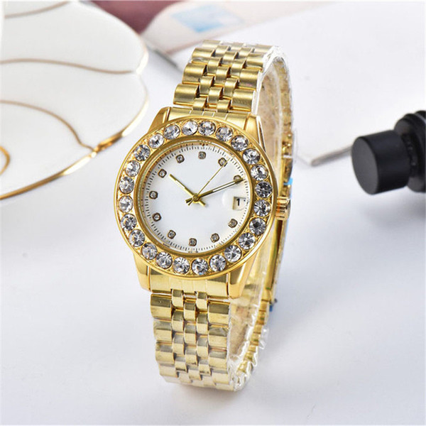 fashion luxury womens designer watches diamond iced out watch quartz lady watch gold silver band Wristwatches montres de luxe pour femmes